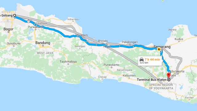 Rute Bis Klaten Jakarta