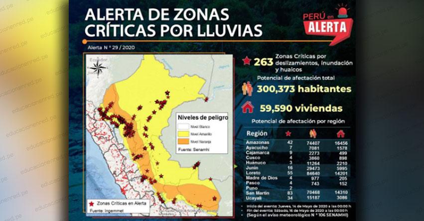 SENAMHI ALERTA: Identifican 263 zonas críticas en alerta por lluvias en la Selva - www.senamhi.gob.pe