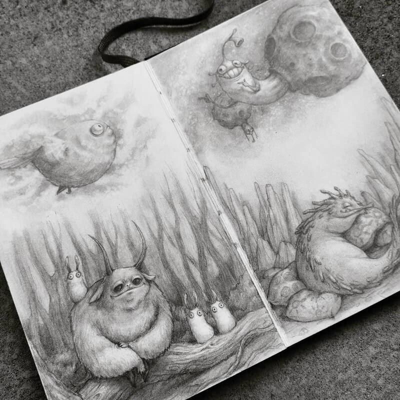 02-Stella-Bialek-Moleskine-Fantasy-Creatures-Drawings-www-designstack-co