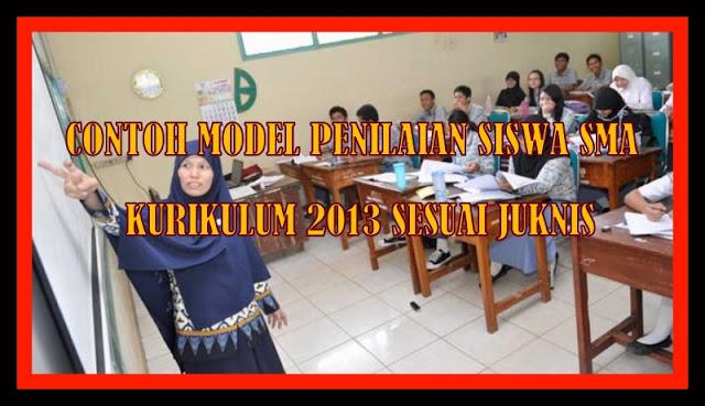 Download Contoh Model Penilaian Siswa SMA Kurikulum 2013 Sesuai Juknis