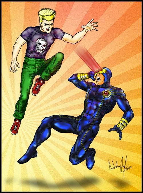 Desenho do personagem Ciclope disparando lasers em um vilão que está pulando em cima dele.