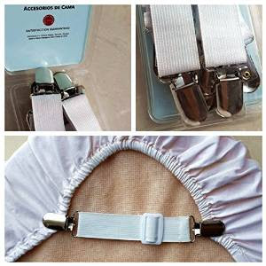Image: Adjustable Bed Sheet Grippers Cover Suspenders (Set of 4)