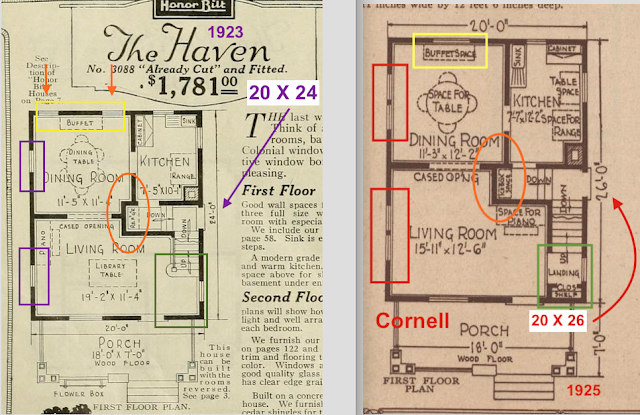 Sears Haven first floor plan vs Sears Cornell first floor plan