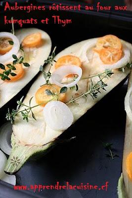 Aubergines rôtissent au four aux kumquats et Thym