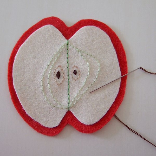 Straight stitch running stitches felt red apple hand sewing craftymarie