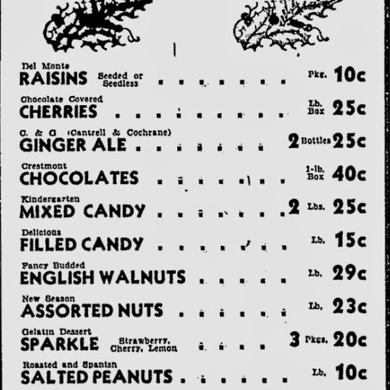 American Christmas 1934 AP Shopping list prices