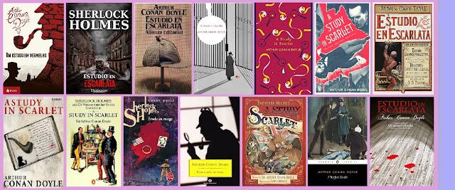 portadas del libro Estudio en escarlata, de Arthur Conan Doyle