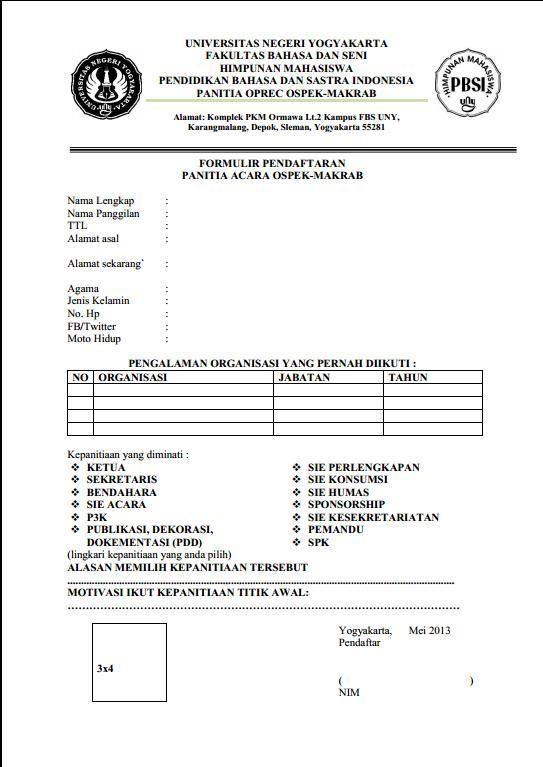 Hima Pbsi Fbs Uny Formulir Pendaftaran Panitia Ospek Makrab Hima