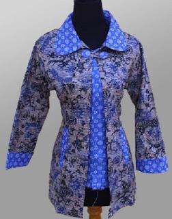Model Baju Batik Kantor Wanita Berjilbab desain modern