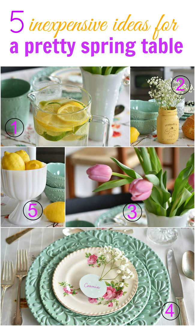 5 Inexpensive Ideas To Create a Pretty Spring Table #natural #diy #crafts #masonjars #flowers #decor #spring #table #decorating