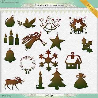 Metallic Christmas icons