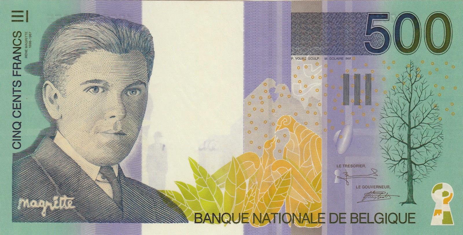 Belgium Banknotes 500 Belgian Francs banknote 1998 surrealist artist Rene Magritte