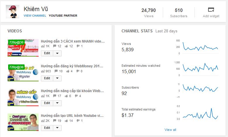 Khiêm Vũ Youtube Analytics 500 subscribers