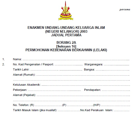 Contoh Surat Cerai Selangor Surat 35