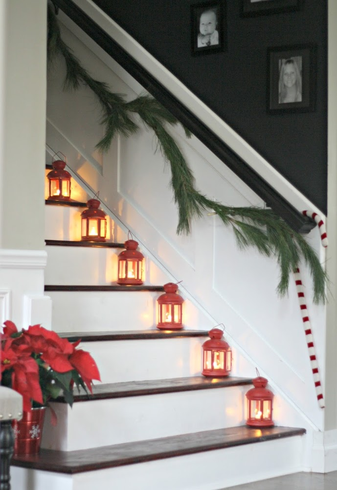 lanterns on stairs Christmas