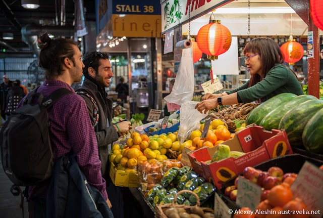 Happy customers at fresh fruit and vegetables food market