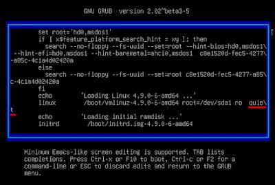 Proses mengedit konfigurasi pada bootloader GRUB