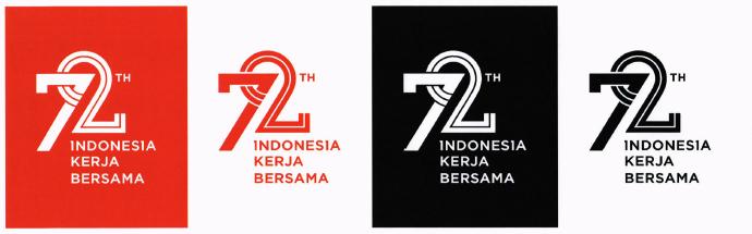 Logo skunder, dapat diaplikasikan pada latar belakang merah dan hitam dengan aturan pakai seperti gambar di atas.