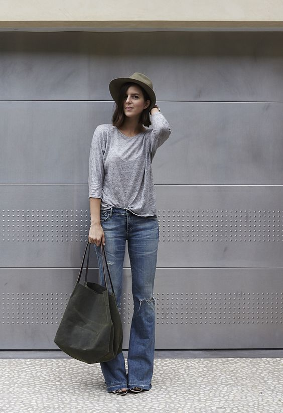Take Aim  - Hat, Grey T, Citizens Flare Jeans