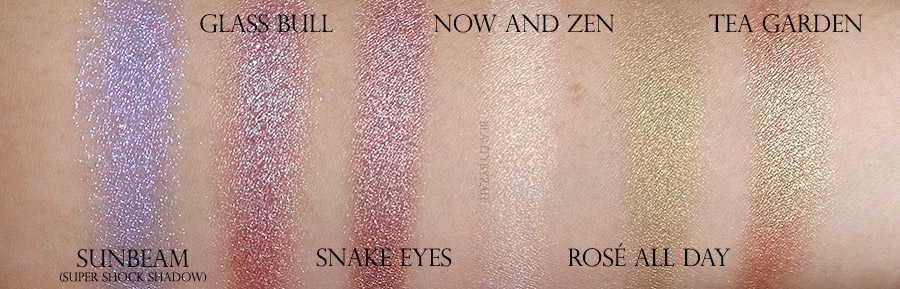 Colourpop The Yin to My Yang, Rosé All Day and Sunbeam eyeshadow swatches
