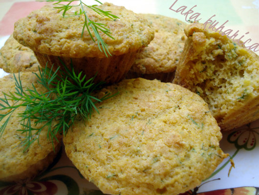 Chive and dill muffins by Laka kuharica: savory muffins are full of fresh spring herbs flavors.