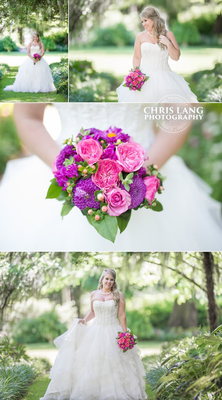 Airlie Gardens - Bridal Photography - Image off Bride - Wedding Dress - Garden Wedding Ideas - Bridal Bouquet - Chris Lang Photography