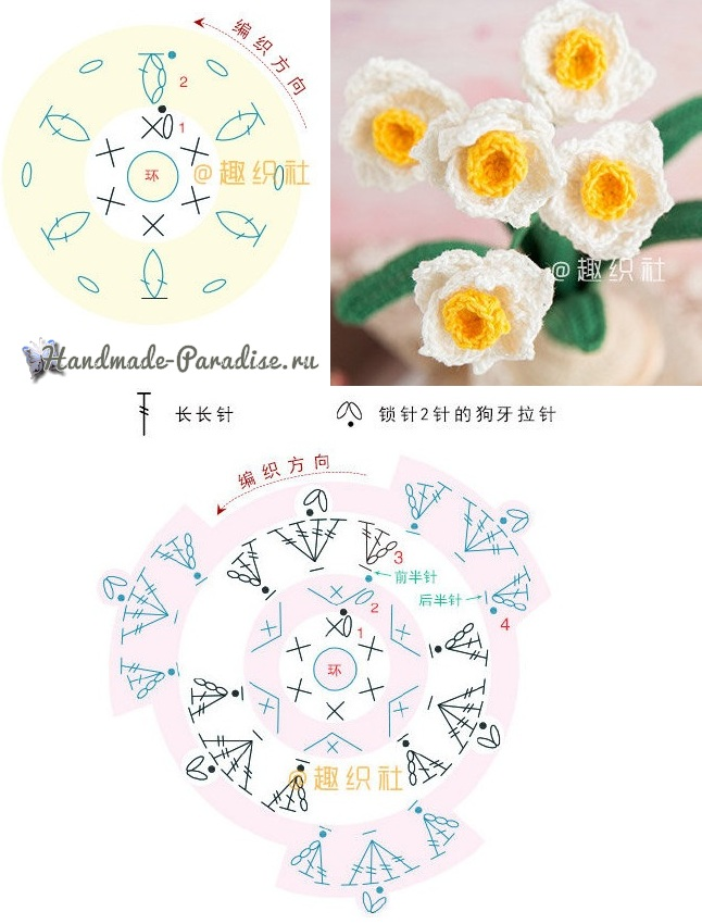 Схемы вязания цветов желтой и белой пряжей