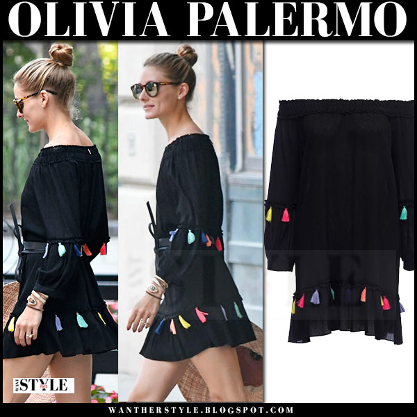 Olivia Palermo in black off shoulder mini tassel dress misa los angeles camilla what she wore