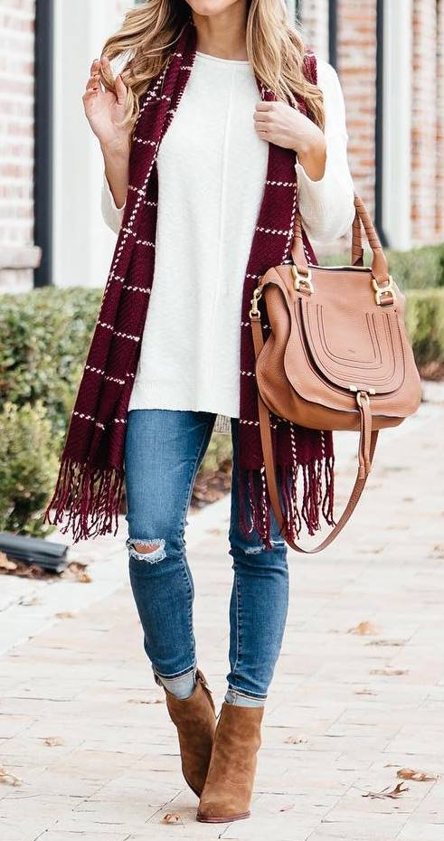fall casual outfit inspiration / bag + white top + scarf + ripped jeans + boots