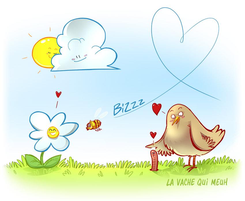 illustration humoristique pour l'arrivée du printemps.