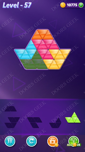 Block! Triangle Puzzle 5 Mania Level 57 Solution, Cheats, Walkthrough for Android, iPhone, iPad and iPod