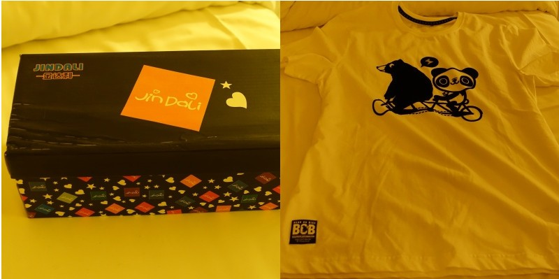Jindali shoe box giordano t-shirt panda bear on bike print
