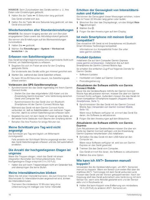Bedienungsanleitung Handbuch Garmin vívoactive HR Sport GPS-Smartwatch