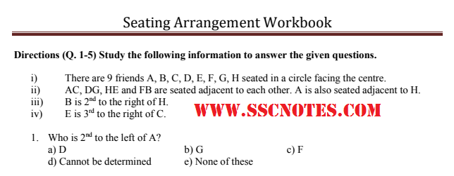 Seating Arrangement Workbook PDF Download