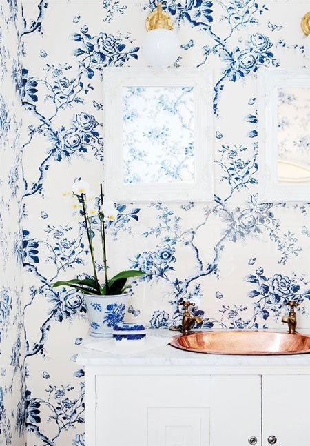 Wallpaper Designs Bathroom Copper Sink with Blue Floral Wallpaper