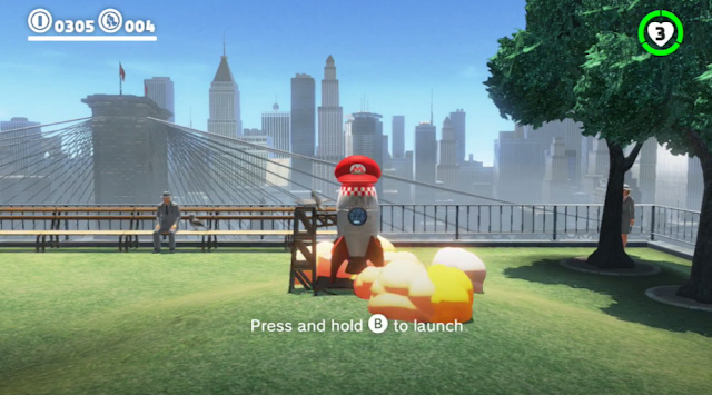 Super Mario Odyssey rocket cap possession launch park