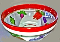 hand painted large salad bowl