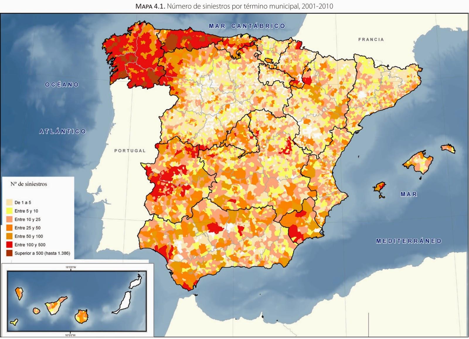 incendios mapa Educación Forestal: Mapa de incendios forestales de España 2001 2010 incendios mapa