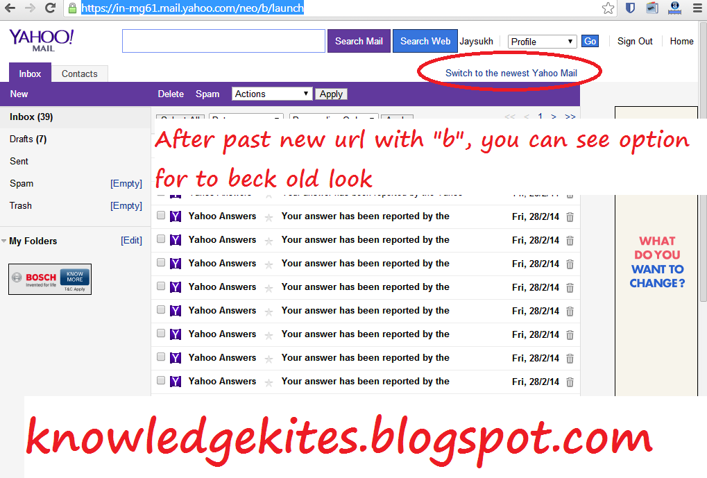 Switch Beck to old yahoo mail look step 4
