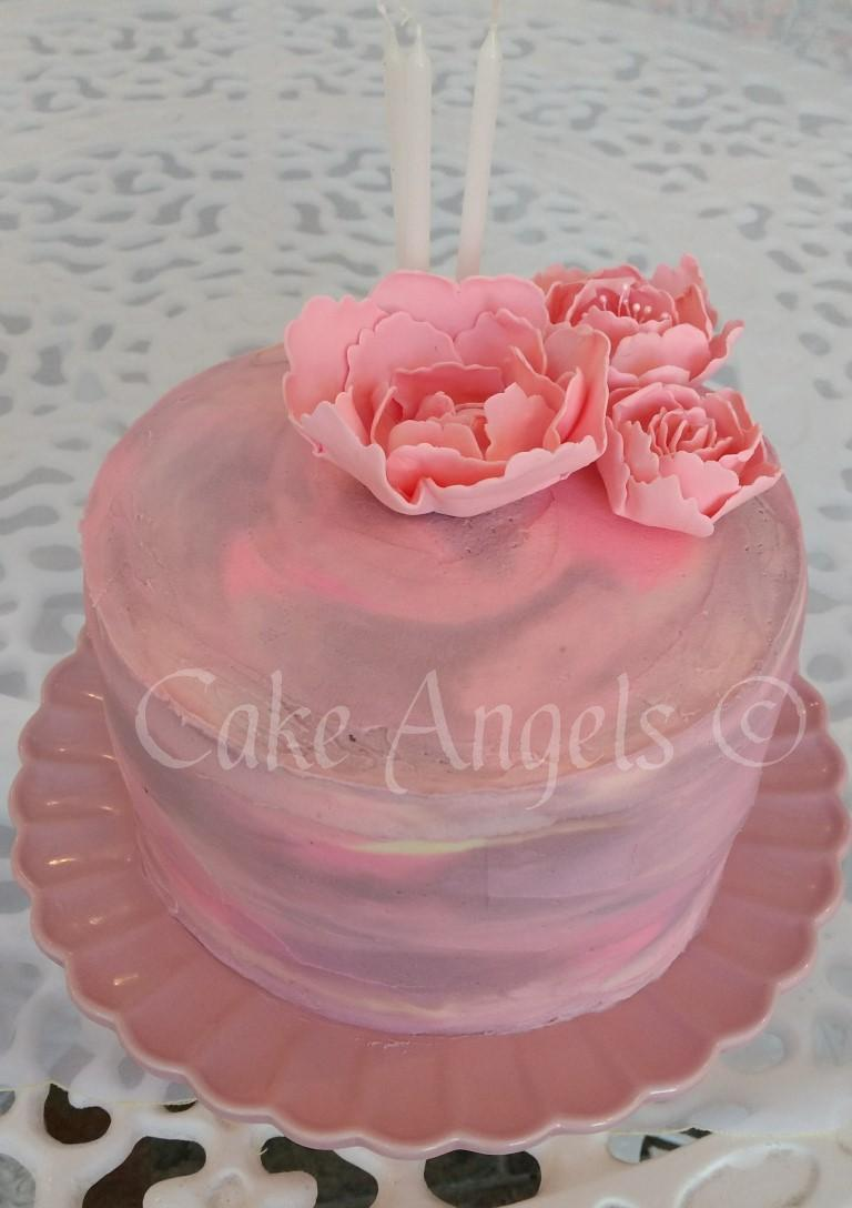 Lemon Flavoured Cake With Pretty Pink Watercolour Buttercream Complete Peonies For A Special Lady Who Was Celebrating Her 80th Birthday