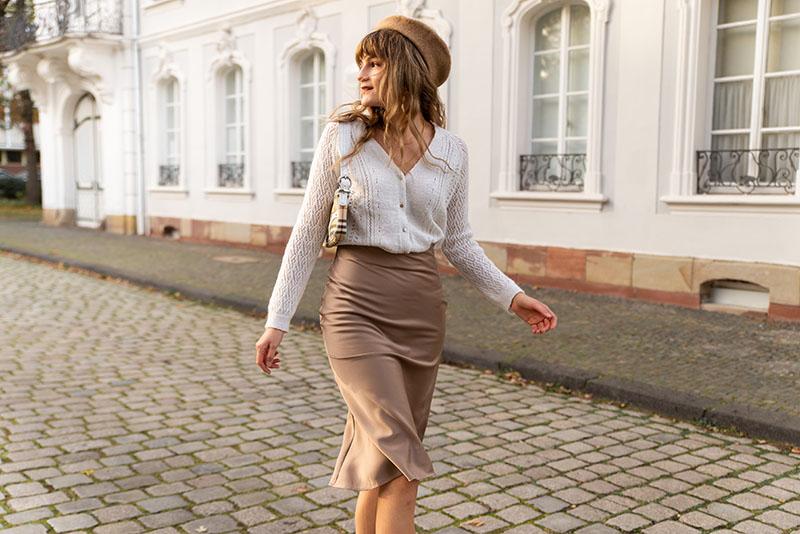 neutral outfit idea na-kd satin skirt