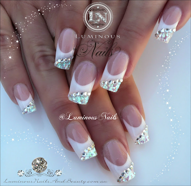 White and Silver Acrylic Nail Designs