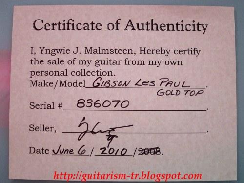 GUITARISM: Yngwie Malmsteen Sells his 1969 Gibson Les Paul