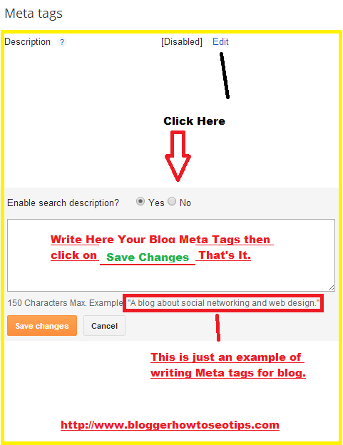 Add Meta Tags to Blogger