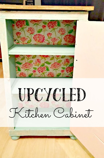 Before and after upcycled kitchen cabinet little for Upcycled kitchen cabinets