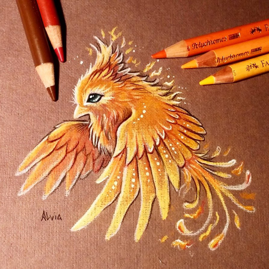 01-Fire-Bird-Alvia-Alcedo-Dragons-and-other-Mythical-Magical-Creatures-in-Fantasy-Drawings-www-designstack-co