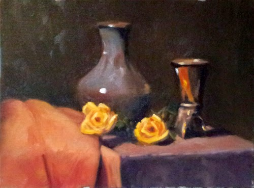 Oil painting of two fake yellow roses and two vases, one silver plated and the other a light purple-coloured porcelain.
