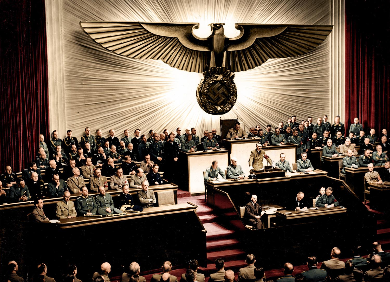 Adolf Hitler declaring war on America, December 11, 1941.