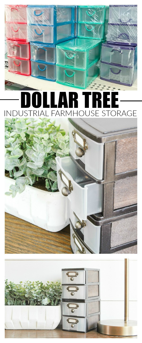 How to give Dollar Tree storage drawers an industrial farmhouse makeover