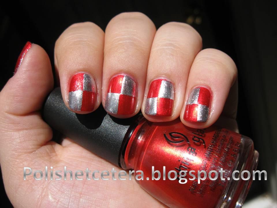 Red Checker Nail Art Polish Etc